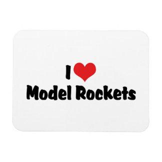 I Love Heart Model Rockets - Rocketry Lover Rectangular Photo Magnet
