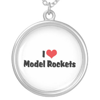 I Love Heart Model Rockets - Rocketry Lover Round Pendant Necklace