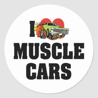 I Love Heart Muscle Cars - Muscle Car Lover Round Sticker