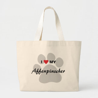 I Love (Heart) My Affenpinscher Paw Print Jumbo Tote Bag