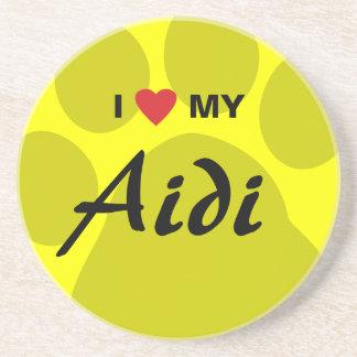 I Love (Heart) My Aidi Paw Print Beverage Coasters