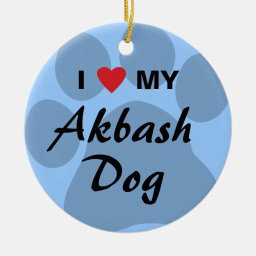 I Love (Heart) My Akbash Dog Ornament