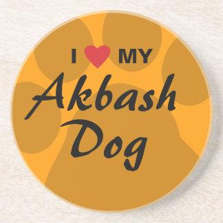 I Love (Heart) My Akbash Dog Drink Coaster