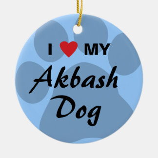 I Love (Heart) My Akbash Dog Round Ceramic Decoration