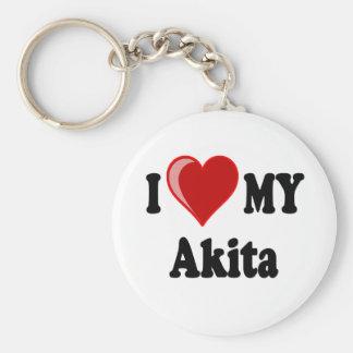 I Love (Heart) My Akita Dog Key Ring