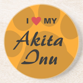 I Love (Heart) My Akita Inu Paw Print Beverage Coasters