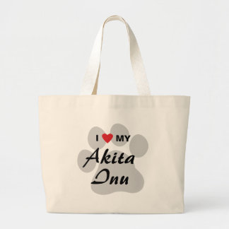 I Love (Heart) My Akita Inu Paw Print Large Tote Bag