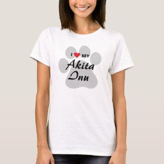 I Love (Heart) My Akita Inu Paw Print T-Shirt