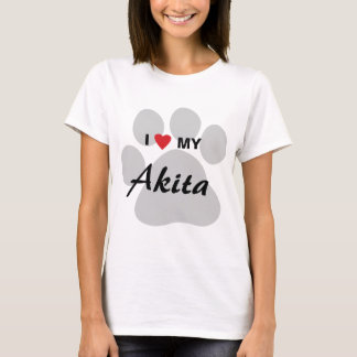 I Love (Heart) My Akita Paw Print T-Shirt