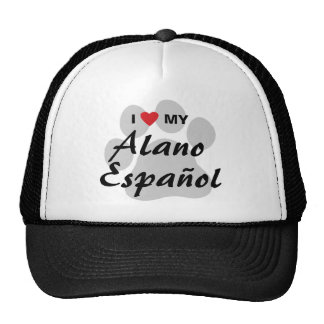 I Love Heart My Alano Espanol Mesh Hats