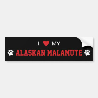 I Love (Heart) My Alaskan Malamute Dog Breed Bumper Sticker