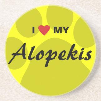 I Love (Heart) My Alopekis Beverage Coasters