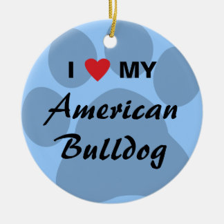 I Love (Heart) My American Bulldog Christmas Ornament