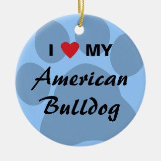 I Love (Heart) My American Bulldog Round Ceramic Decoration