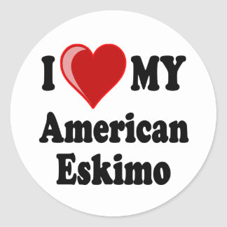 I Love (Heart) My American Eskimo Dog Classic Round Sticker