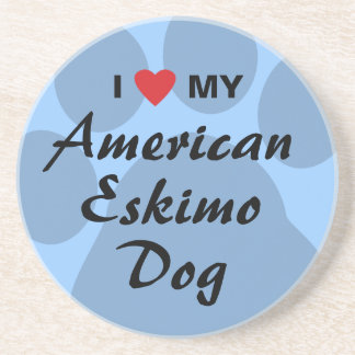 I Love (Heart) My American Eskimo Dog Drink Coasters