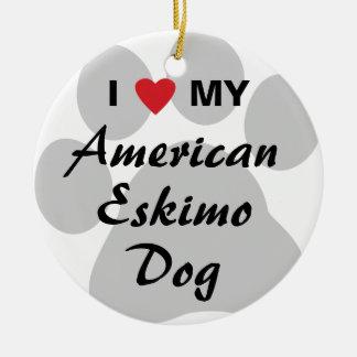 I Love (Heart) My American Eskimo Dog Round Ceramic Decoration