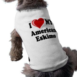 I Love (Heart) My American Eskimo Dog Pet T Shirt