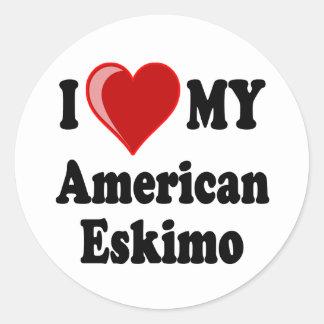 I Love (Heart) My American Eskimo Dog Round Sticker