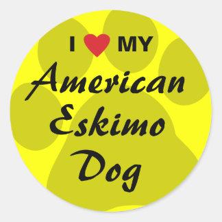 I Love (Heart) My American Eskimo Dog Classic Round Sticker