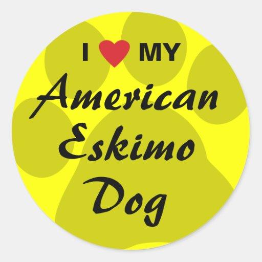 I Love (Heart) My American Eskimo Dog Stickers