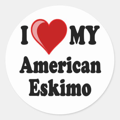 I Love (Heart) My American Eskimo Dog Sticker