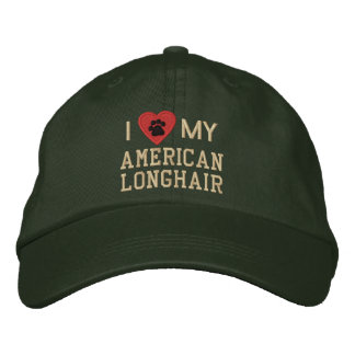 I Love (Heart) My American Longhair Pawprint Embroidered Hat