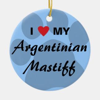 I Love (Heart) My Argentinian Mastiff Round Ceramic Decoration