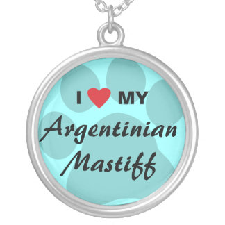 I Love (Heart) My Argentinian Mastiff Round Pendant Necklace