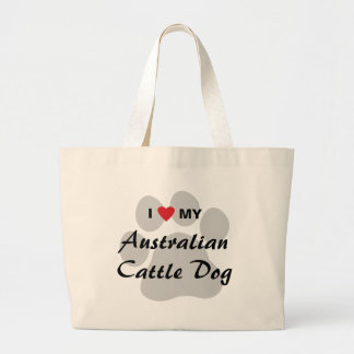 I Love (Heart) My Australian Cattle Dog Jumbo Tote Bag