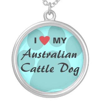 I Love (Heart) My Australian Cattle Dog Round Pendant Necklace