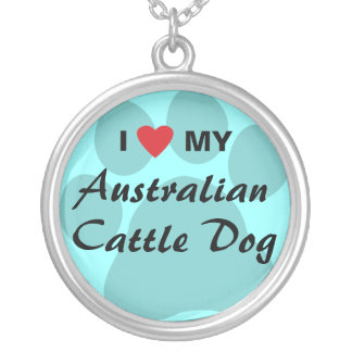 I Love (Heart) My Australian Cattle Dog Round Pendant Necklace