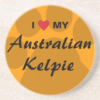 I Love (Heart) My Australian Kelpie Sandstone Coaster