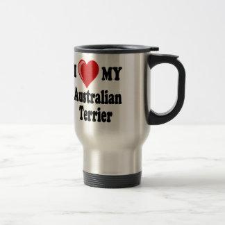 I Love (Heart) My Australian Terrier Dog Stainless Steel Travel Mug