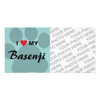 I Love (Heart) My Basenji Paw Print Photo Cards