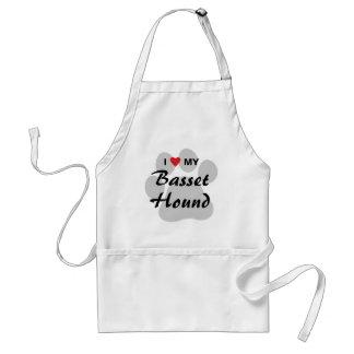 I Love (Heart) My Basset Hound Pawprint Adult Apron