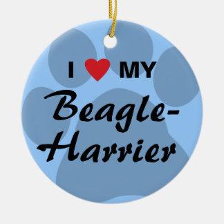 I Love (Heart) My Beagle-Harrier Double-Sided Ceramic Round Christmas Ornament