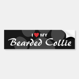 I Love (Heart) My Bearded Collie Bumper Stickers