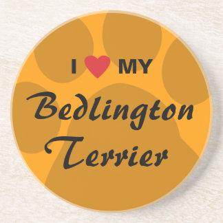I Love (Heart) My Bedlington Terrier Beverage Coaster