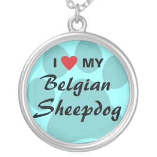 I Love (Heart) My Belgian Sheepdog Round Pendant Necklace