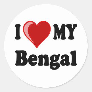 I Love (Heart) My Bengal Cat Round Sticker