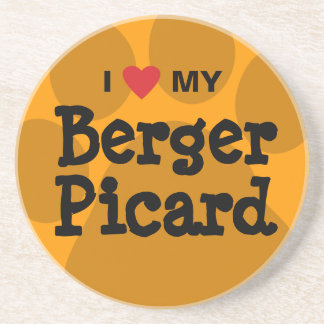 I Love (Heart) My Berger Picard Paw Print Drink Coaster