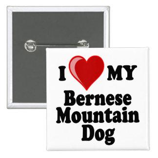 I Love (Heart) My Bernese Mountain Dog 15 Cm Square Badge