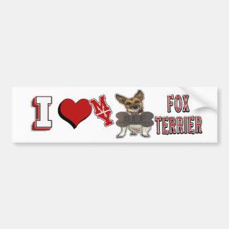 I LOVE HEART MY BFF FOX TERRIER BUMPER STICKER