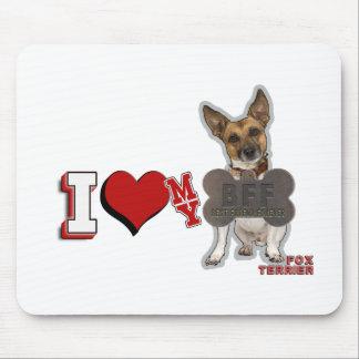 I LOVE HEART MY BFF FOX TERRIER MOUSEPAD