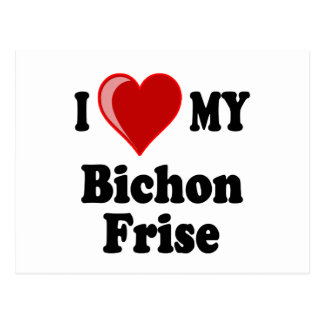 I Love Heart My Bichon Frise Dog Post Cards