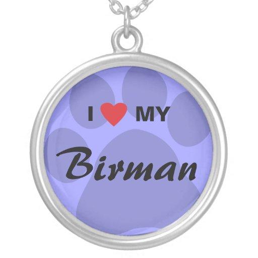I Love (Heart) My Birman Personalized Necklace