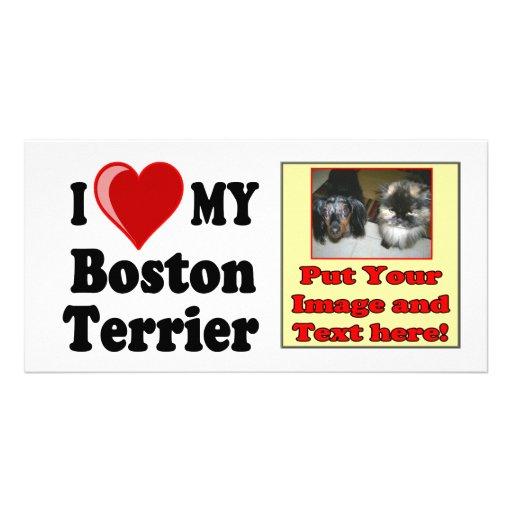 I Love (Heart) My Boston Terrier Dog Photo Cards