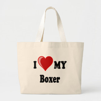 I Love (Heart) My Boxer Dog Large Tote Bag