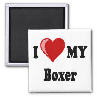 I Love (Heart) My Boxer Dog Square Magnet